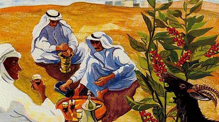 рисунок арабов возле кофейного дерева