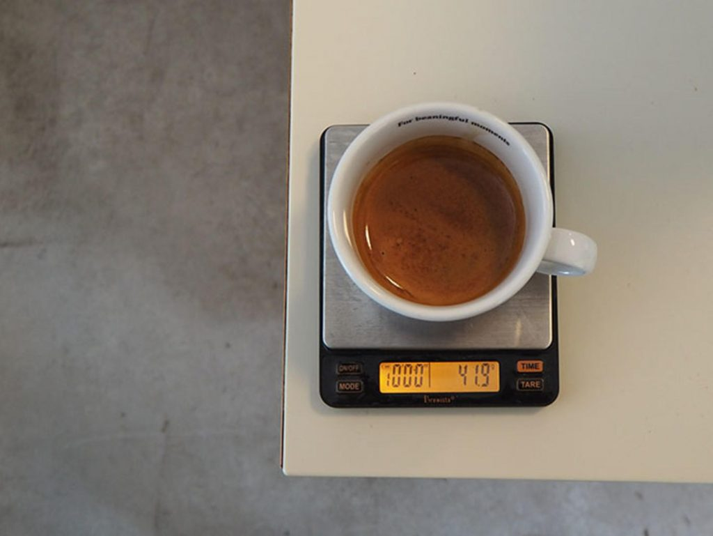чашка кофе на весах