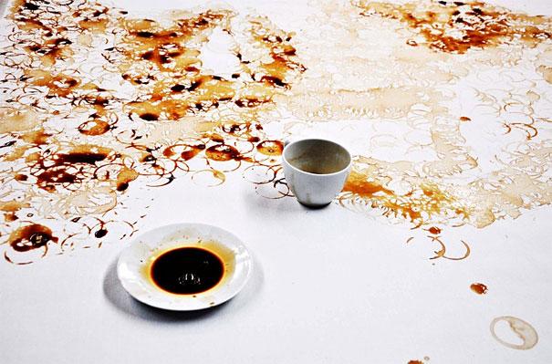 создание портрета из кофе